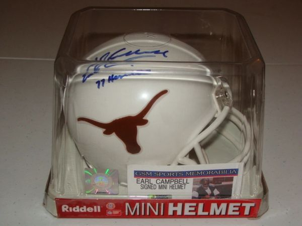 #20 EARL CAMPBELL Texas Longhorns NCAA RB White Mini Helmet AUTOGRAPHED