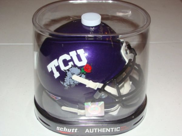 #43 TANK CARDER TCU Horned Frogs NCAA LB Purple Rose Bowl Mini Helmet AUTOGRAPHED