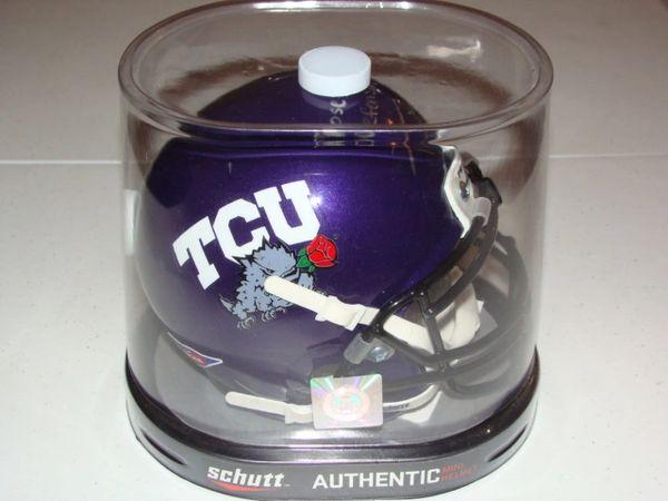 #43 TANK CARDER TCU Horned Frogs NCAA LB Purple Rose Bowl Mini Helmet AUTOGRAPHED