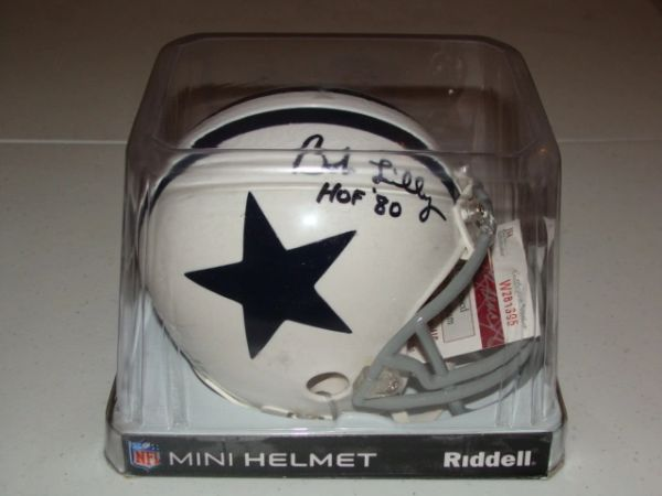 #74 BOB LILLY Dallas Cowboys NFL DT White Mini Helmet AUTOGRAPHED