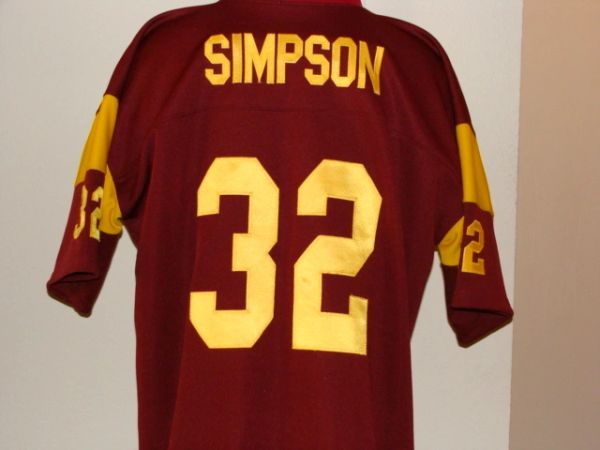 size 40 66029 f08fb #32 O. J. SIMPSON USC Trojans NCAA RB Red Throwback Jersey