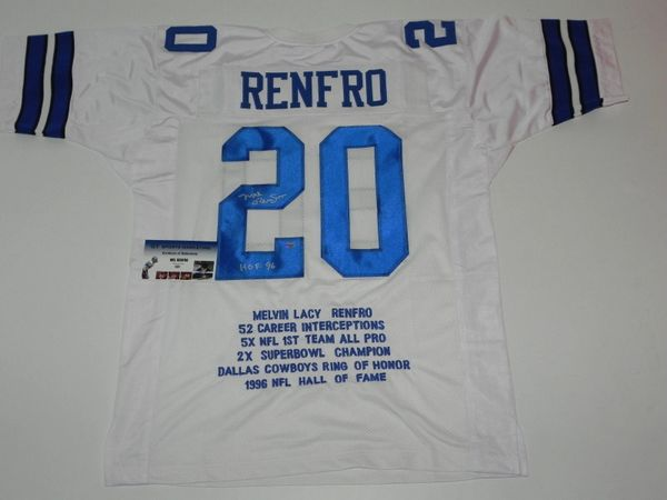 #20 MEL RENFRO Dallas Cowboys NFL CB White Stats Throwback Jersey AUTOGRAPHED