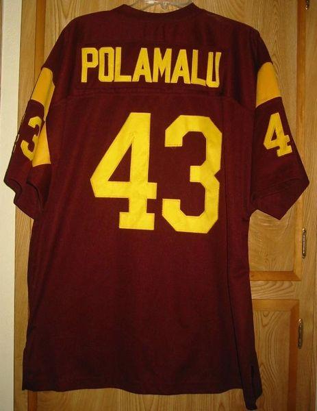 reputable site 18562 3b4b8 #43 TROY POLAMALU USC Trojans NCAA S/LB Red Throwback Jersey