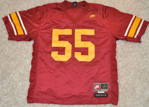 buy online 7a0ef 04341 #55 JUNIOR SEAU USC Trojans NCAA LB Red Throwback Jersey