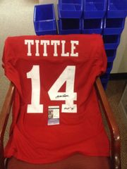 #14 Y.A. TITTLE San Francisco 49ers NFL QB Red Throwback Jersey AUTOGRAPHED