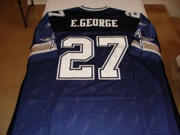 100% authentic 3e8e0 9ad30 #27 EDDIE GEORGE Dallas Cowboys NFL RB Blue Throwback Jersey