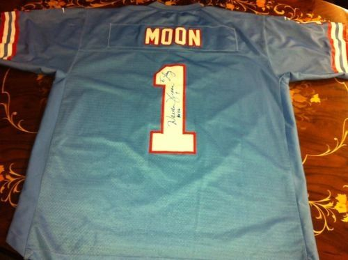 #1 WARREN MOON Houston Oilers NFL QB Blue Throwback Jersey AUTOGRAPHED