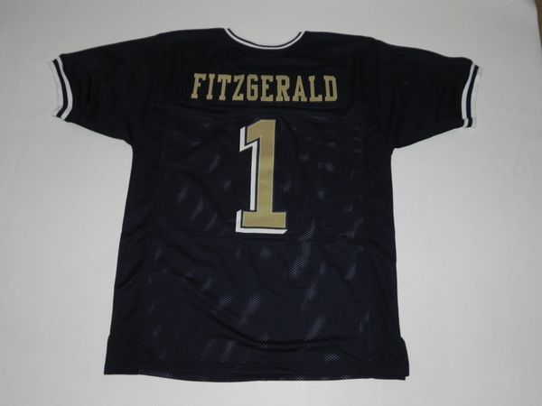 #1 LARRY FITZGERALD Pittsburgh Panthers NCAA WR Blue Throwback Jersey