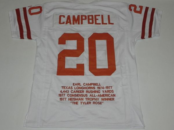 #20 EARL CAMPBELL Texas Longhorns NCAA RB White Stats Throwback Jersey
