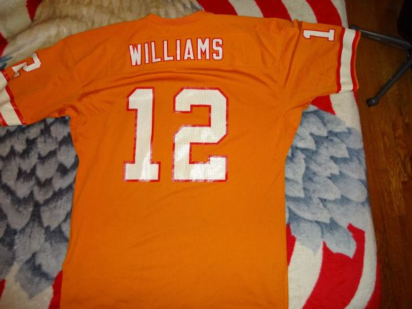 sports shoes b5761 94201 #12 DOUG WILLIAMS Tampa Bay Buccaneers NFL QB Orange Throwback Jersey