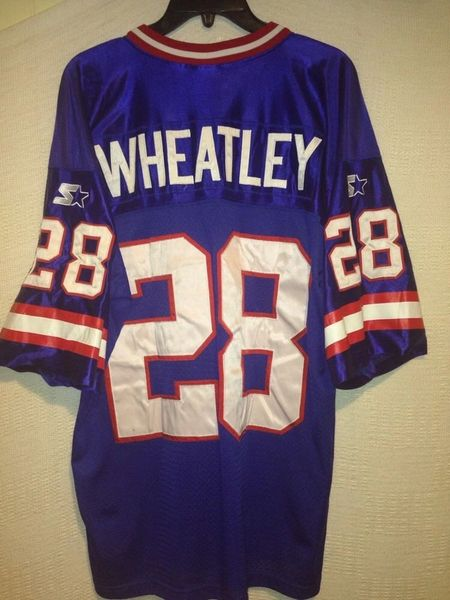 info for ae977 ebe20 #28 TYRONE WHEATLEY New York Giants NFL RB Blue Throwback Jersey