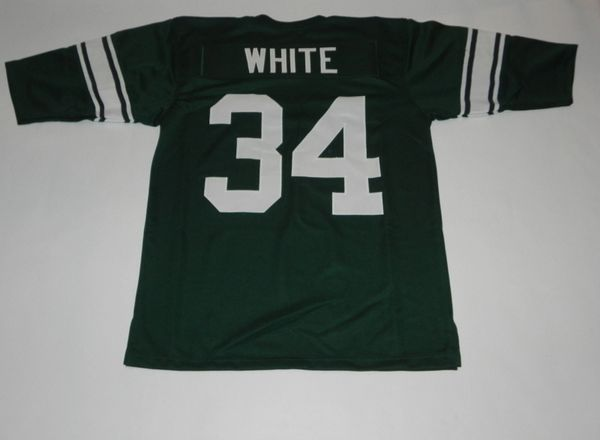 #34 LORENZO WHITE Michigan State Spartans NCAA RB Green Throwback Jersey
