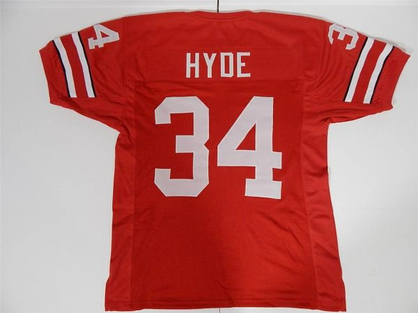 #34 CARLOS HYDE Ohio State Buckeyes NCAA RB Red Throwback Jersey