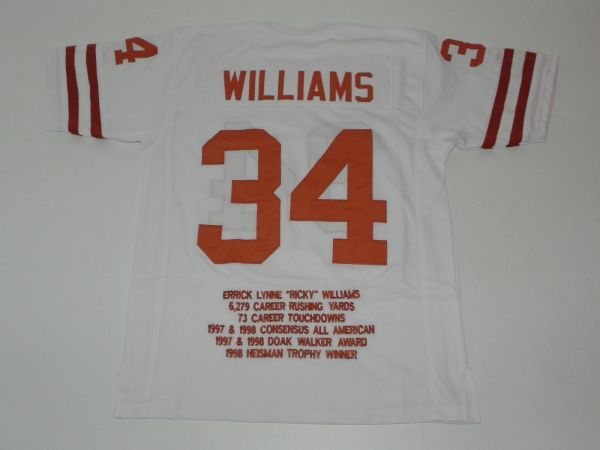 #34 RICKY WILLIAMS Texas Longhorns NCAA RB White Stats Throwback Jersey