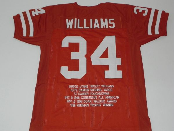 #34 RICKY WILLIAMS Texas Longhorns NCAA RB Orange Stats Throwback Jersey