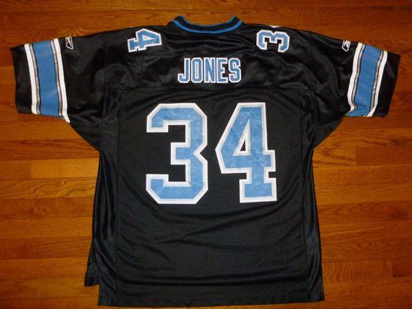 #34 KEVIN JONES Detroit Lions NFL RB Black Throwback Jersey