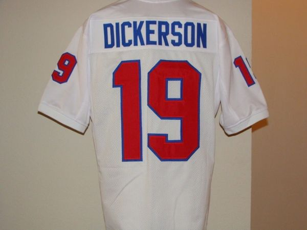 huge discount bf244 6d6fa #19 ERIC DICKERSON SMU Mustangs NCAA RB White Throwback Jersey