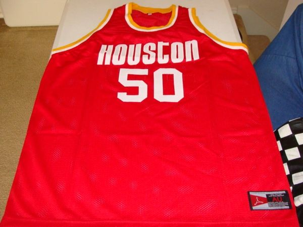 #50 ROBERT REID Houston Rockets NBA G/F Red Throwback Jersey AUTOGRAPHED