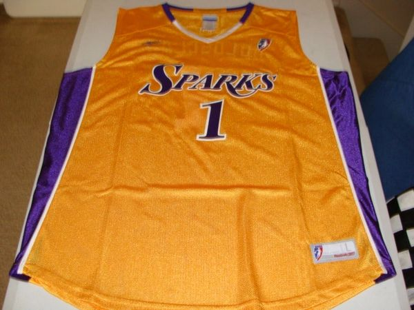 #1 CHAMIQUE HOLDSCLAW Los Angeles Sparks WNBA SF Gold Throwback Jersey AUTOGRAPHED