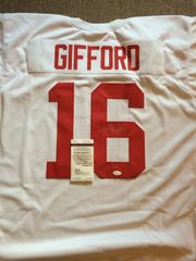 #16 FRANK GIFFORD New York Giants NFL RB/FL/DB White Throwback Jersey AUTOGRAPHED