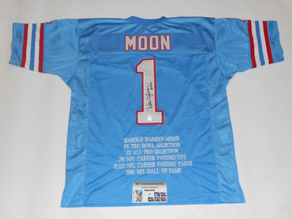 #1 WARREN MOON Houston Oilers NFL QB Blue Stats Throwback Jersey AUTOGRAPHED