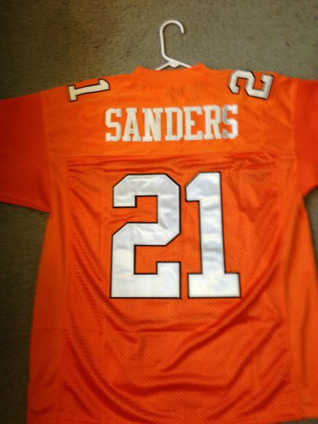 buy popular fa43a 13a94 #21 BARRY SANDERS Oklahoma State Cowboys NCAA RB Orange Mint Throwback  Jersey