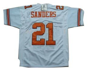 #21 BARRY SANDERS Oklahoma State Cowboys NCAA RB White Mint Throwback Jersey