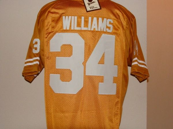 #34 RICKY WILLIAMS Texas Longhorns NCAA RB Orange Mint Throwback Jersey