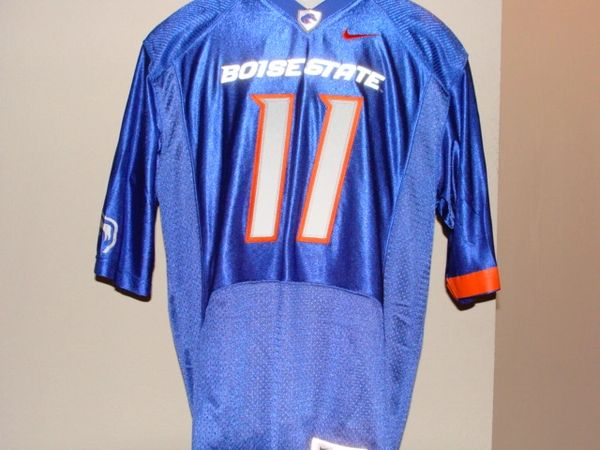 #11 KELLEN MOORE Boise State Broncos NCAA QB Blue Mint Throwback Jersey