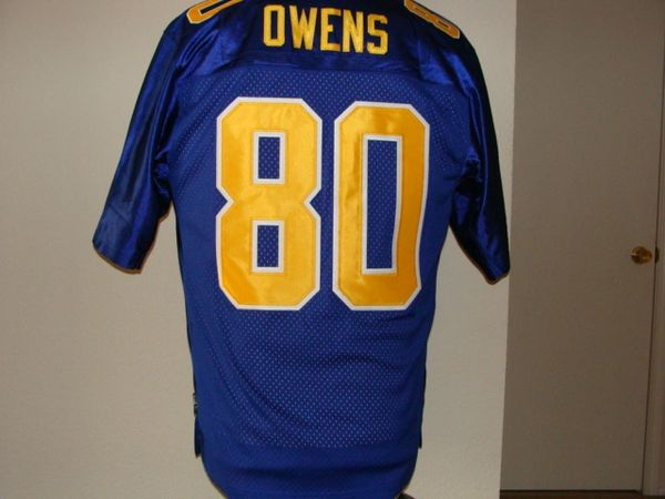 #80 TERRELL OWENS UT-Chattanooga Mocs NCAA WR Blue Mint Throwback Jersey