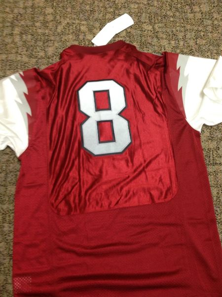 #8 AUSTIN ALLEN Arkansas Razorbacks NCAA QB Red Mint Throwback Jersey