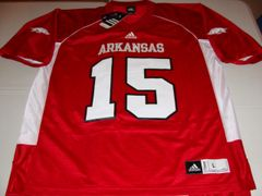 #15 ARKANSAS Razorbacks NCAA Football Red Mint Throwback Jersey