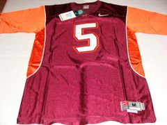 #5 VICK/TAYLOR Virginia Tech Hokies NCAA Football Maroon Mint Throwback Jersey