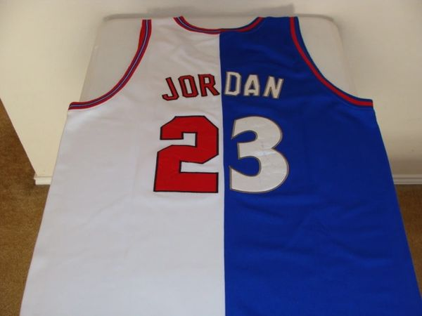 timeless design d404b 1f42a #23 MICHAEL JORDAN Washington Wizards/Chicago Bulls NBA Guard Blue/White  Half/Half Throwback Jersey