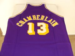 #13 WILT CHAMBERLAIN Los Angeles Lakers NBA Center Purple Throwback Jersey