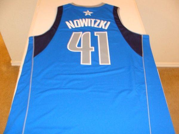#41 DIRK NOWITZKI Dallas Mavericks NBA Forward Light Blue Throwback Jersey