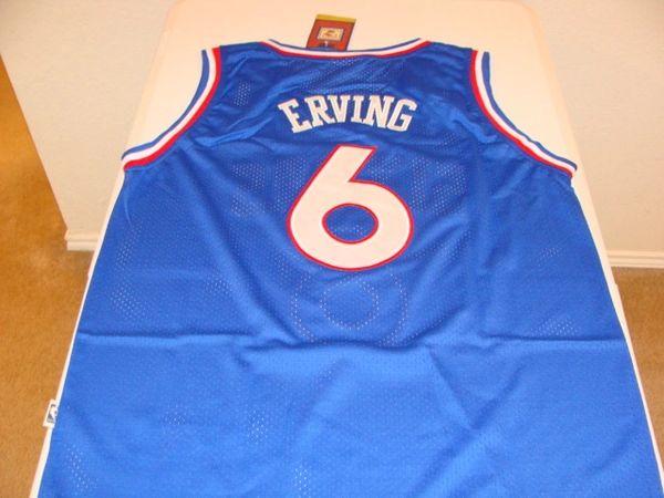 #6 JULIUS ERVING Philadelphia 76ers NBA Forward Blue Adidas Throwback Jersey