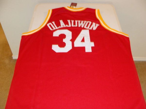 #34 HAKEEM OLAJUWON Houston Rockets NBA Center Red M&N Throwback Jersey