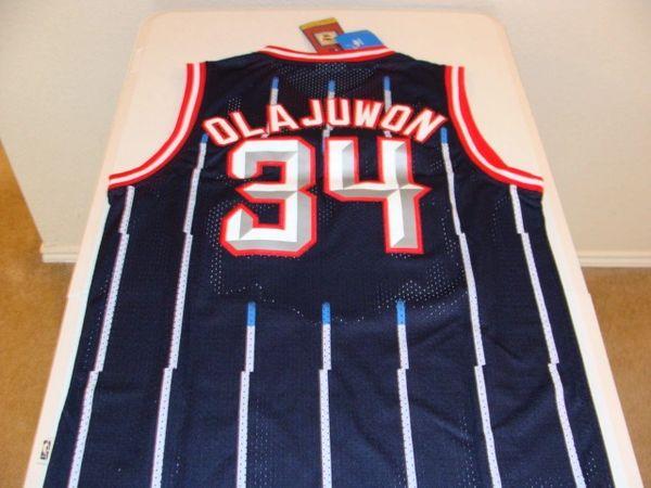 #34 HAKEEM OLAJUWON Houston Rockets NBA Center Blue PS Throwback Jersey