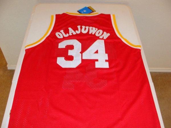 #34 HAKEEM OLAJUWON Houston Rockets NBA Center Red Adidas Throwback Jersey