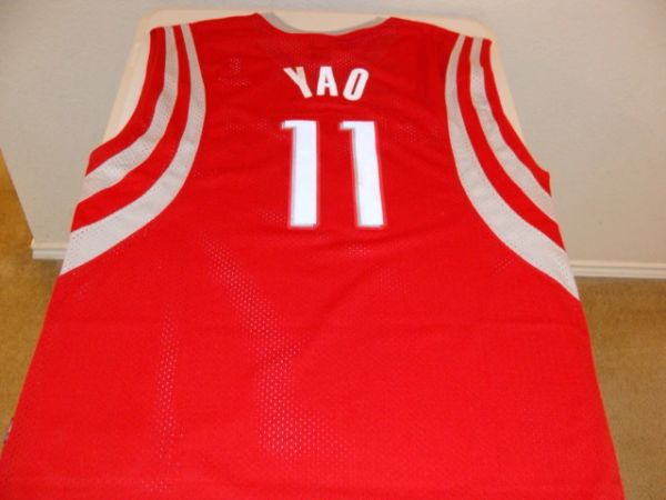 cheap for discount a4f40 c5afc #11 YAO MING Houston Rockets NBA Center Red Reebok Throwback Jersey