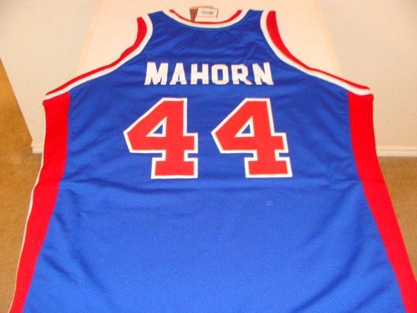 #44 RICK MAHORN Detroit Pistons NBA PF/Center Blue Throwback Jersey