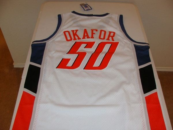 #50 EMEKA OKAFOR Charlotte Bobcats NBA PF/Center White Throwback Jersey