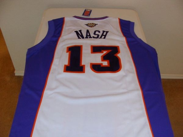 #13 STEVE NASH Phoenix Suns NBA Guard White Throwback Jersey