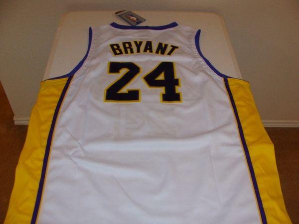 #24 KOBE BRYANT Los Angeles Lakers NBA Guard White NBA Finals Throwback Jersey