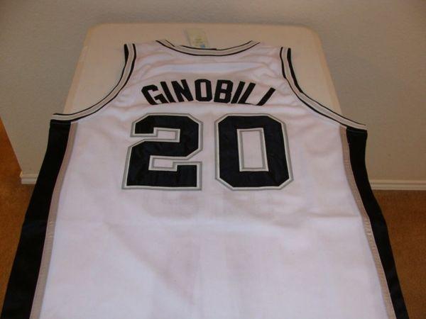 #20 MANU GINOBILI San Antonio Spurs NBA Guard White Throwback Jersey