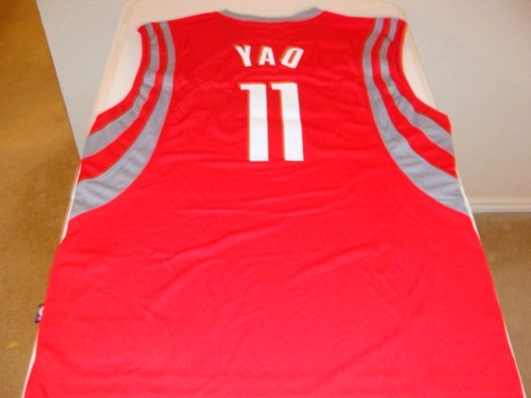 huge discount fe6ef 1b59d #11 YAO MING Houston Rockets NBA Center Red Adidas Throwback Jersey