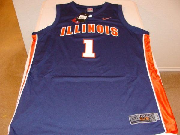 #1 ILLINOIS Fighting Illini NCAA Basketball Blue Throwback Team Jersey