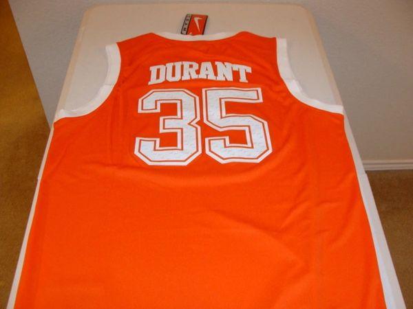 more photos 5ed4a c893f #35 KEVIN DURANT Texas Longhorns NCAA Forward Orange Throwback Jersey