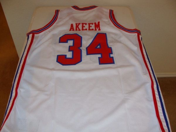 best loved d0db6 41db5 #34 AKEEM OLAJUWON Houston Cougars NCAA Center White Throwback Jersey